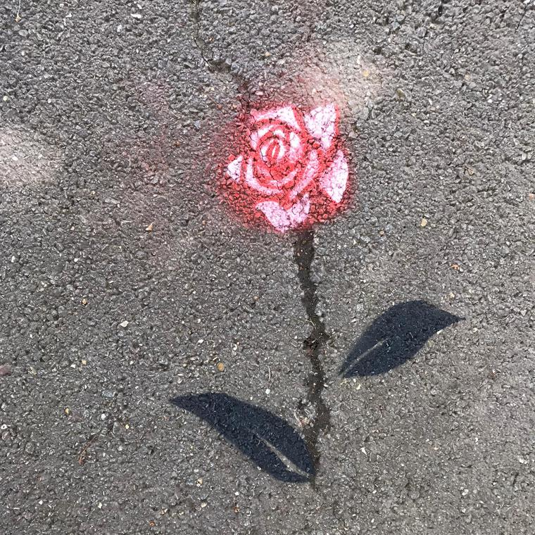 Fleur de Bitume la rose Square du rond point- marles les mines- Entrée rue d'Alsace-Lorraine - Sandrine estrade boulet.jpg