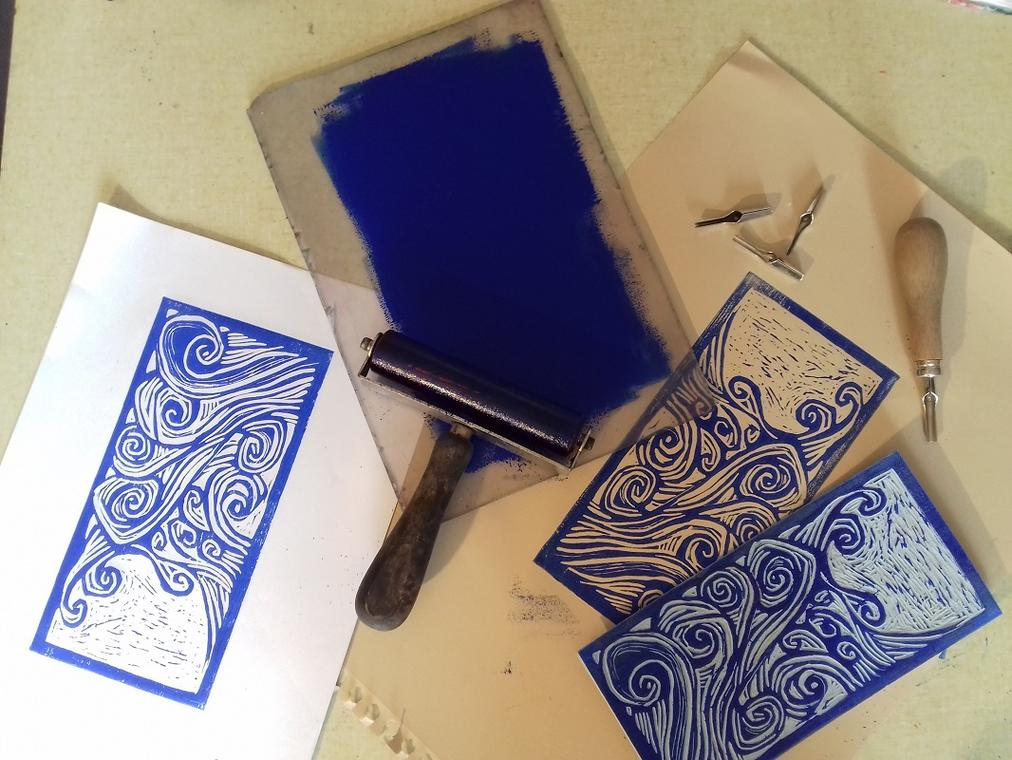 Atelier linogravure - Atelier de la Licorne - Guilvinec - Pays Bigouden