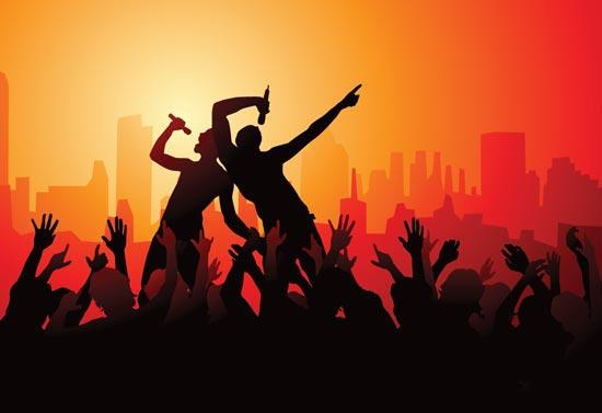 Party-people-silhouettes-vector