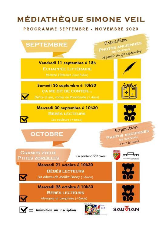 2020-09- à novembre Médiathèque Simone Veil Sauvian