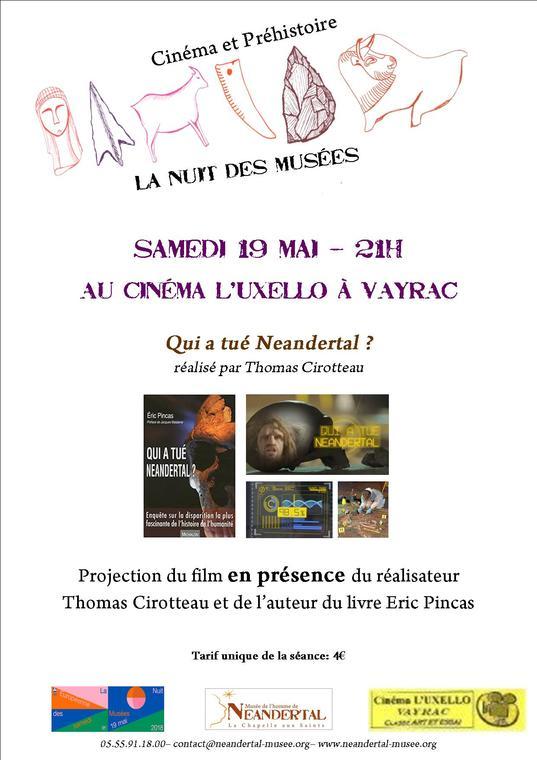 La Préhistoire fait son cinéma - Nuit des Musées 2018 - Musée de l'Homme de Neandertal - Cinéma Uxello Vayrac