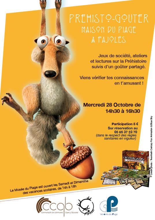 PIAGE - Affiche Préhisto goûter Octobre 2020