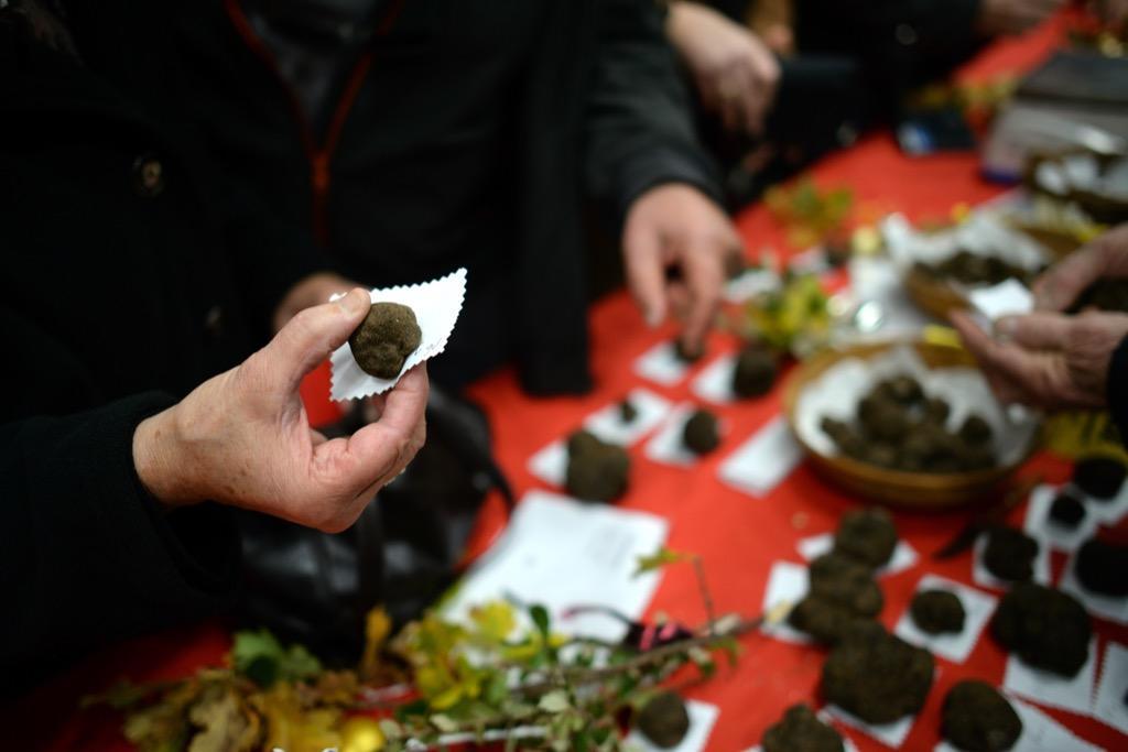 Tractations sur le marché aux truffes © Lot Tourisme - M. Taburet