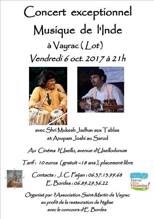affiche concert 6 octobre 2017                         Vayrac