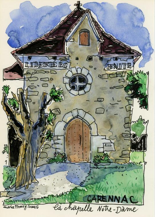 dessin carennac l'église 2016