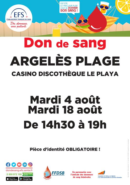Collecte de sang Argelès août 2020