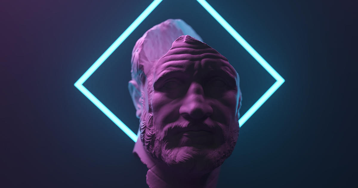 antique statue in neon light