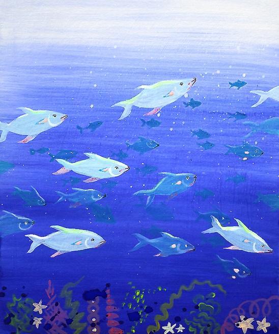 Banc de poissons peinture