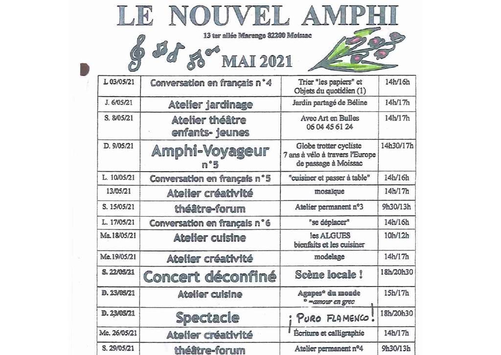 Concert Déconfiné Samedi 22 Mai 2021 17 h le Nouvel Amphi