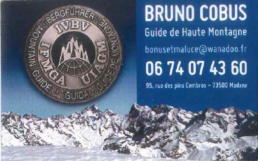 Carte de visite de Bruno Cobus, guide de Haute montagne à Modane