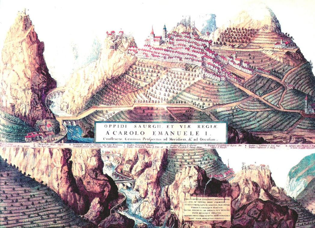 Ancienne gravure de Saorge
