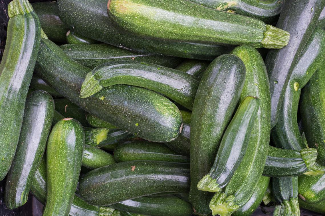 Bunch of green zucchini aerial
