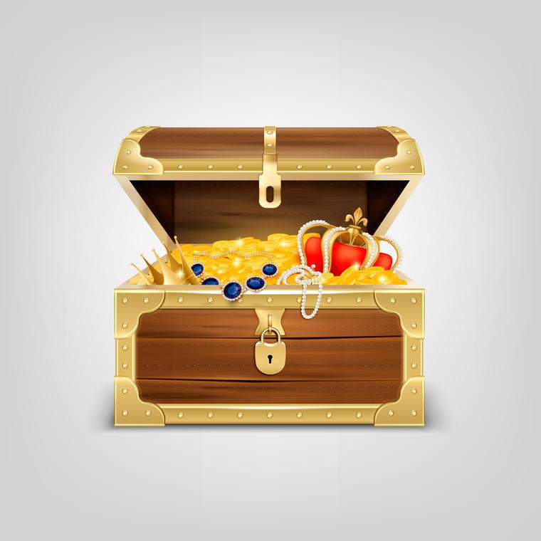 Realistic Treasure Chest Composition
