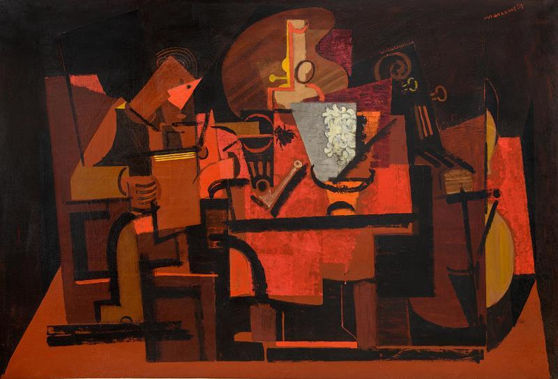 Louis Marcoussis, Le liseur sous la lampe, 1937,  Centre national d'art et de culture Georges -Pompidou, photo Benoit Croisy, Coll ville de Granville