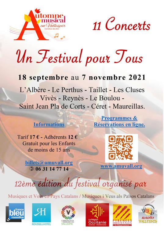 Festival Automne Musical en Vallespir 2021 - Affiche