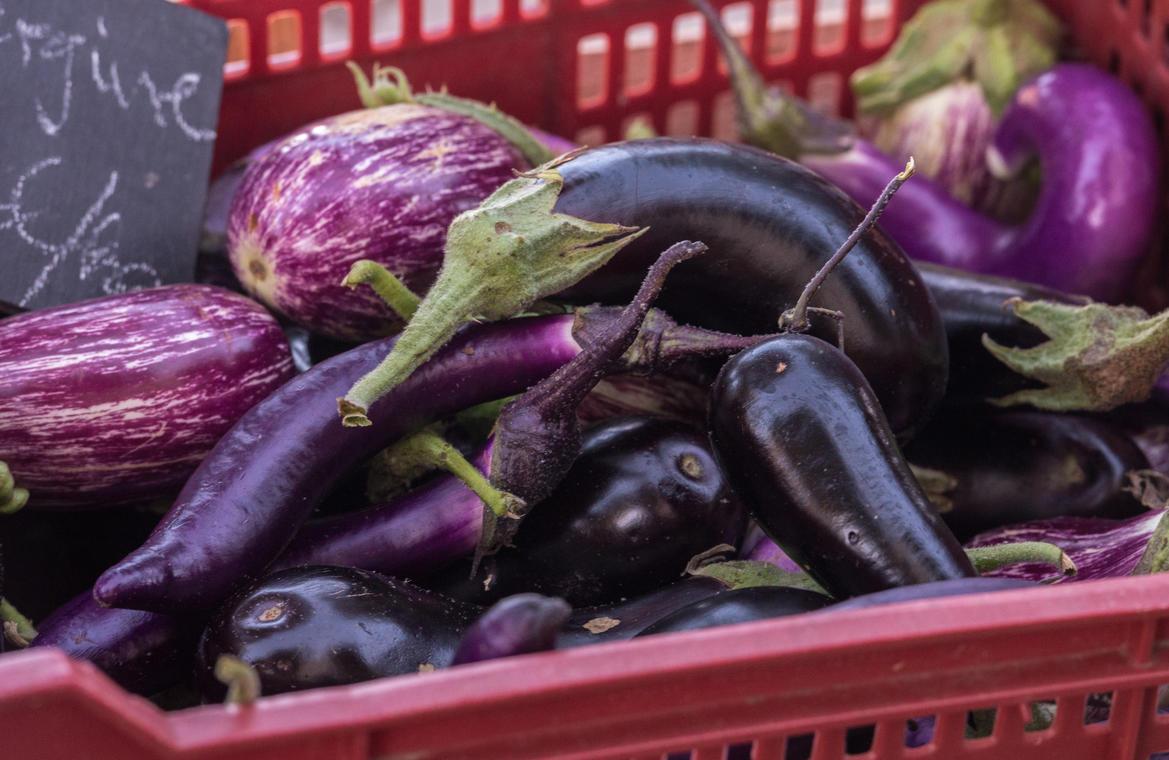 Étal de légumes.