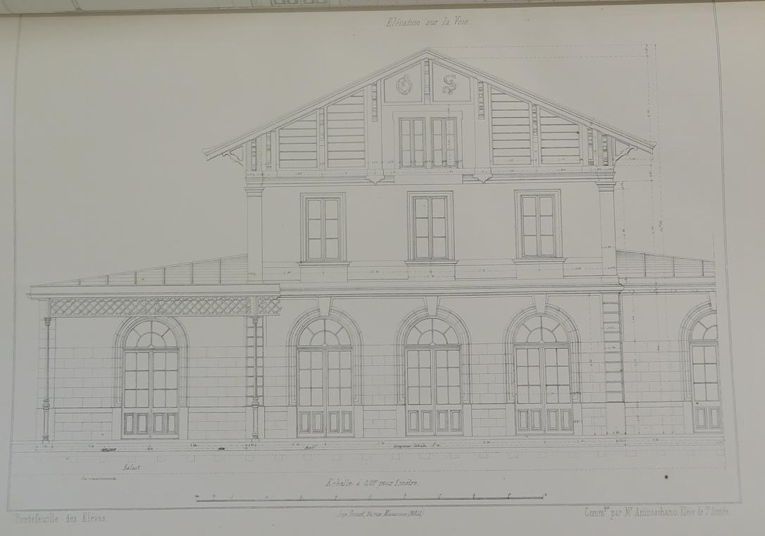 Projet de gare – élévation sur la voie / M Aninoschano. Portefeuille des travaux
