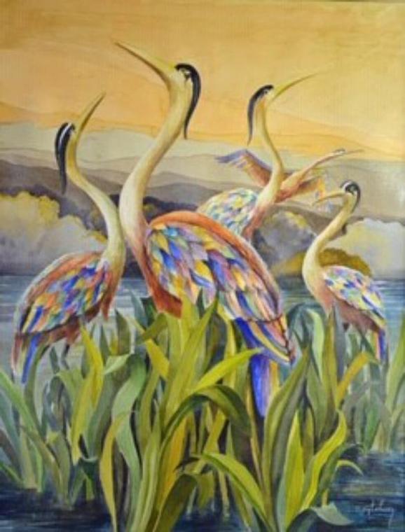Les Hérons, G. lehuen, Aquarelle, 65x50