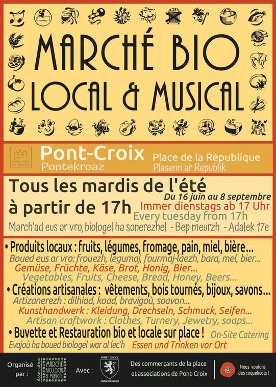 2020_ete_pontcroix_marchebiolocal&musical_affiche_fr_bzh_alld_angl