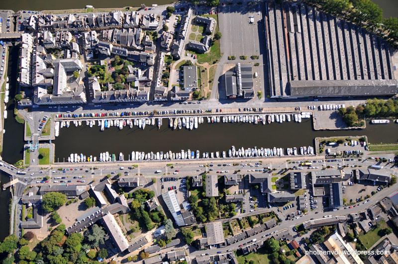 Vue aérienne du port de plaisance de Redon