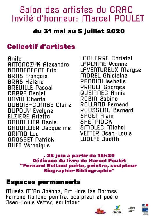 Verso flyer Salon des artistes du CRAC