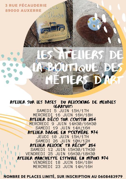 LES ATELIERS DE LA BOUTIQUE DES MÉTIERS D'ART