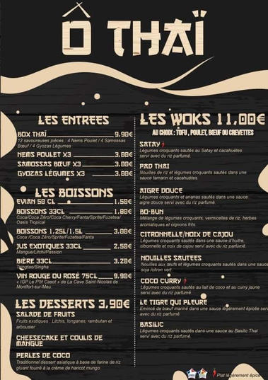 ô thai Montfort menu