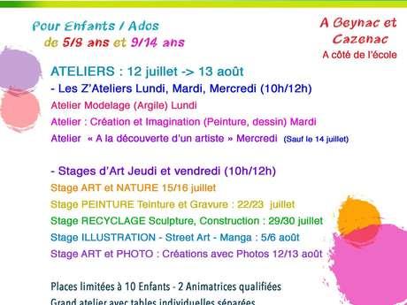 Ateliers d'été : art et nature, peinture et création.