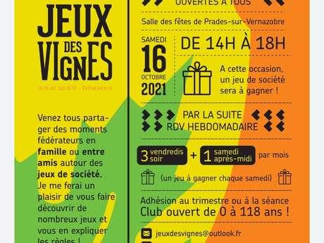 JEUX DES VIGNES - JOURNÉES PORTES OUVERTES JEUX DE SOCIÉTÉ