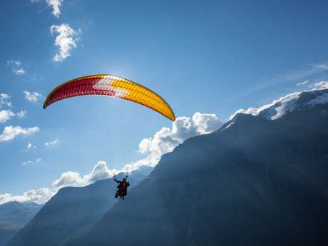 Paragliding take off and drop zone of Bonneval sur Arc