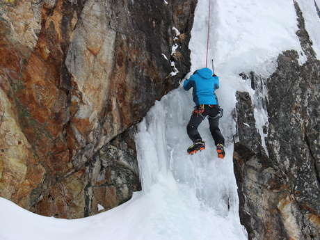 Ice waterfall climbing with Bureau des Guides