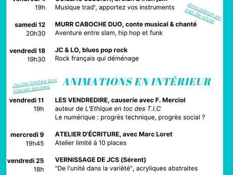 Café de la Forge - programme de Septembre