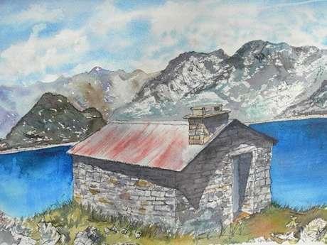 """Exposition d'aquarelles """"Refuges et cabanes des montagnes"""""""
