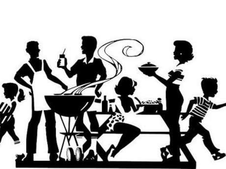 Repas convivial sur la famille