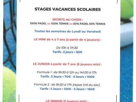 STAGES TENNIS PADEL VACANCES