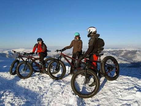 VTT Fatbike sur neige avec le Bureau des Guides des Pyrénées Ariègeoises