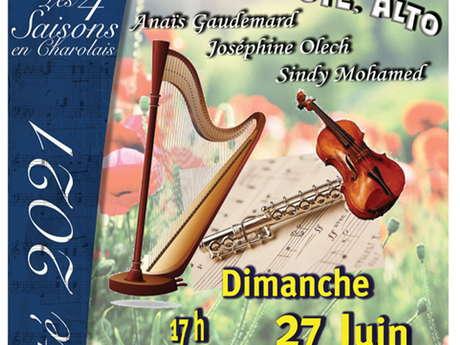 Concert d'été des 4 Saisons en Charolais: Trio harpe, alto et flûte