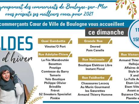 LES COMMERCANTS COEUR DE VILLE DE BOULOGNE  VOUS ACCUEILLENT CE DIMANCHE 24 JANVIER