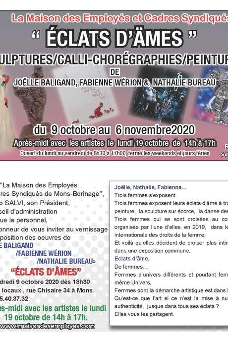 """Exposition """"Eclats d'âmes"""" par Mesdames Baligand-Bureau-Wérion"""