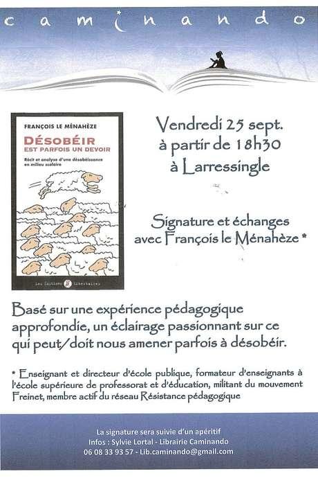 SIGNATURE ET ÉCHANGES AVEC FRANCOIS LE MÉNAHÈZE  A LA LIBRAIRIE CAMINANDO