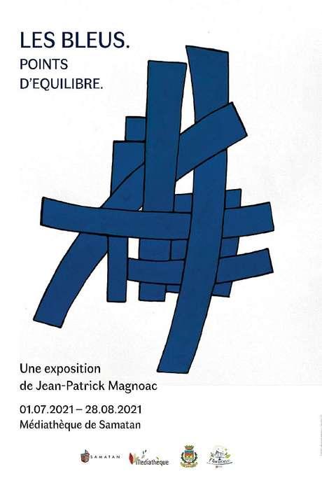 """VISITE FLASH AUTOUR DE L'  EXPOSITION """"LES BLEUS"""" DE JEAN-PATRICK MAGNOAC À LA MÉDIATHÈQUE DE SAMATAN"""