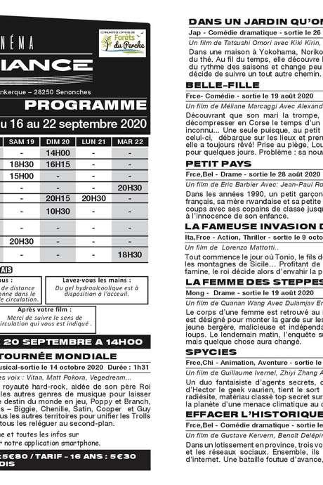 Programme du 16 au 22 septembre - Cinéma l'Ambiance