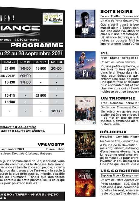 Programme du cinéma l'ambiance Senonches du 22 au 28 septembre