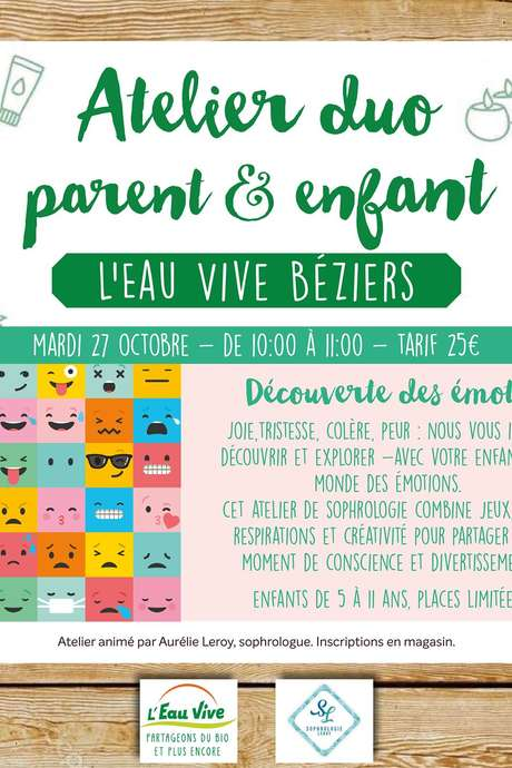 ATELIER DUO PARENT ENFANT- DECOUVERTE DES EMOTIONS