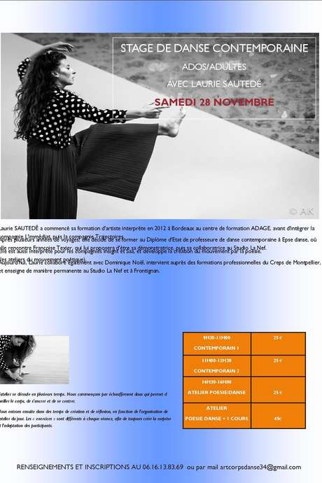 ANNULE - STAGE DE DANSE CONTEMPORAINE ADOS/ADULTES