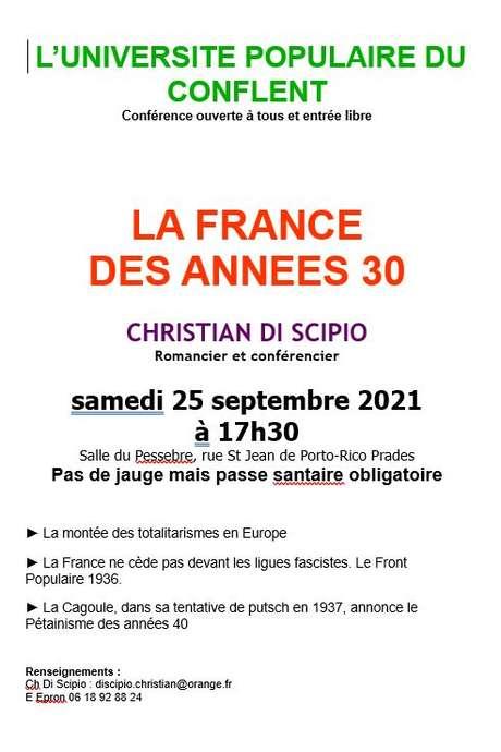 LA FRANCE DES ANNÉES 30, CONFÉRENCE DE L'UNIVERSITÉ POPULAIRE DU CONFLENT