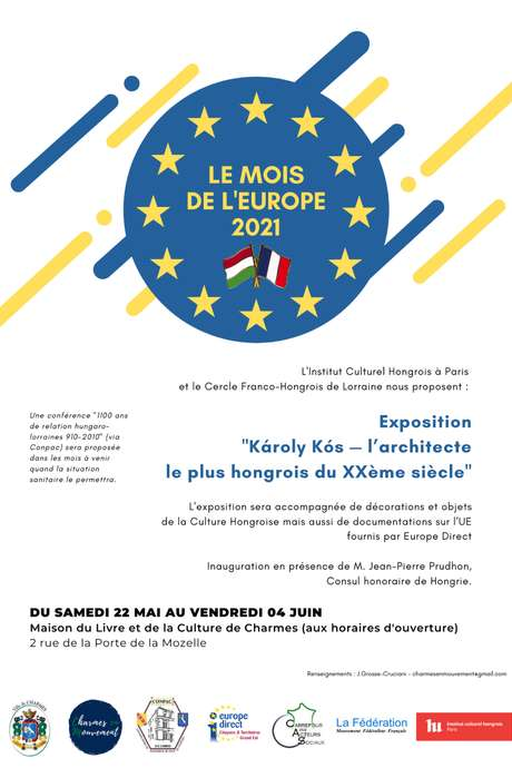 MOIS DE L'EUROPE 2021 : EXPOSITION 'KÁROLY KÓS : L'ARCHITECTE LE PLUS HONGROIS DU XXEME SIÈCLE'