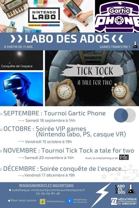 LABO DES ADOS - TOURNOI TICK TOCK A TALE FOR TWO