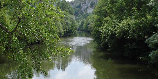 Baignade du Liauzu dans la rivière Célé à Orniac