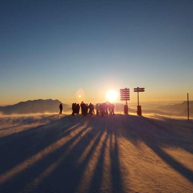 L'envers du décor : Ski au coucher du soleil
